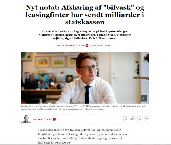 Direktør Erik S. Rasmussen er citeret i Finans vedrørende nyt notat om leasingfirmaerne